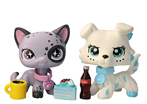 Judylovelps Custom lps Collie and Shorthair Cat, 2pcs Pets lps Blue Spots Collie Gray Spot Shorthair Cat with lps Accessories Cake Coke Drink Kids Gift