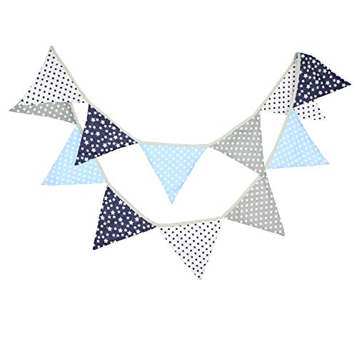 INFEI 3.2M/10.5Ft Black & Gray Halloween Fabric Triangle Flags Bunting Banner Garlands for Wedding, Birthday Party, Outdoor & Home Decoration (Blue)