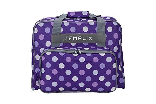 SEMPLIX Nähmaschinentasche Polka Dots lila/Flieder 45x34x24 | stabile Transport und Aufbewahrungs Tasche in vielen frischen Farben, für alle gängigen Haushaltsnähmaschinen