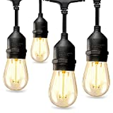 48FT Outdoor LED String Lights with 2W Dimmable Shatterproof Edison Vintage Bulbs,...