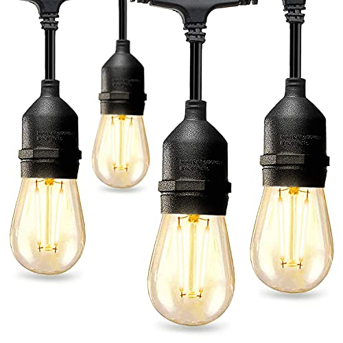 48FT Outdoor LED String Lights with 2W Dimmable Shatterproof Edison Vintage Bulbs, Waterproof Patio Lights Outdoor - UL Listed Heavy-Duty Commercial Grade Patio Café Lights for Bistro Garden