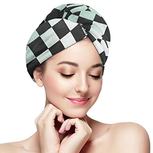 Patrón de cuadros abstractos en blanco y negro Envoltura de toallas Turbante Microfibra - Toalla de secado de cabello Baño Cabeza de gorro de ducha