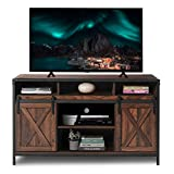 AODAILIHB Modern Farmhouse Grooved Wood TV Stand for TV's up to 50' with Storage Cabinet Doors and Shelves Entertainment Center Living Room Storage, 28 Inches Tall (Dark Brown)