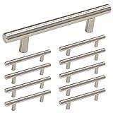 homdiy Cabinet Handles Brushed Nickel Drawer Pulls - HD201SN Cabinet Hardware Stainless Steel Kitchen Cupboard Handles Cabinet Handles,10 Pack 3-1/2in Hole Centers Handles for Dresser Drawers