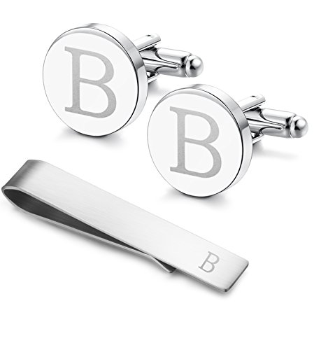 Classic Engraved Initial Cufflinks and Tie Clip Bar Set Alphabet Letter...