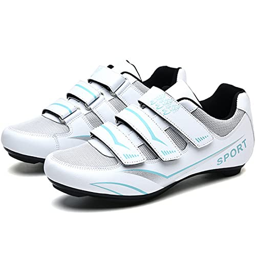 ASORT Zapatillas de Ciclismo de Carretera para Hombre, Zapatillas de Ciclismo SPD para Mujer, Antideslizantes, Transpirables, Compatibles con Los Pedales Look Delta con Tacos Delta,White+Blue-40EU