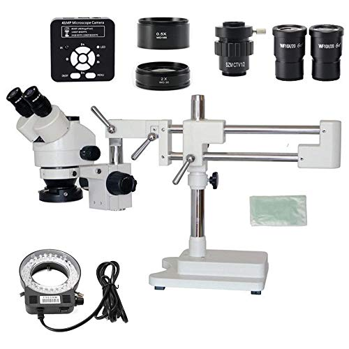 KANJJ-YU 3.5X 7X 45X 90X Double Boom Stand Zoom Trinocular Stereo Microscope + 41MP Camera Microscope for Industrial PCB Repair Magnification (Color : Kit)