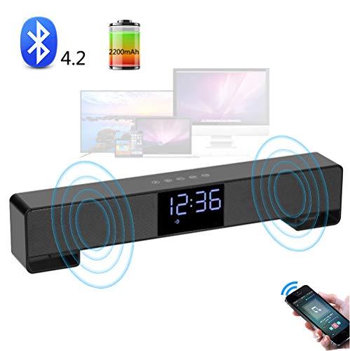 Ejooyduty desktop-bluetooth-luidspreker, draagbare draadloze 10-W-geluidsstrip met wekker, hifi-geluidskwaliteit, 2200 mAh, voor buiten, laptop, kindergeschenken