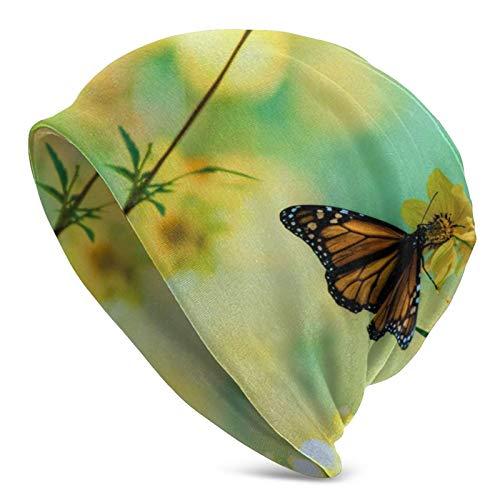 BGDFN Gorro de Punto de Flor Amarilla como Mariposa, Gorro cálido, Gorro de Calavera con puños Suaves elásticos, Gorro Diario para Unisex