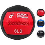 Day 1 Fitness Soft Wall Medicine Ball 6 Pounds RED/BLACK - for Exercise, Rehab, Core Strength, Large Durable Balls for TRX, Floor Exercises, Stretching