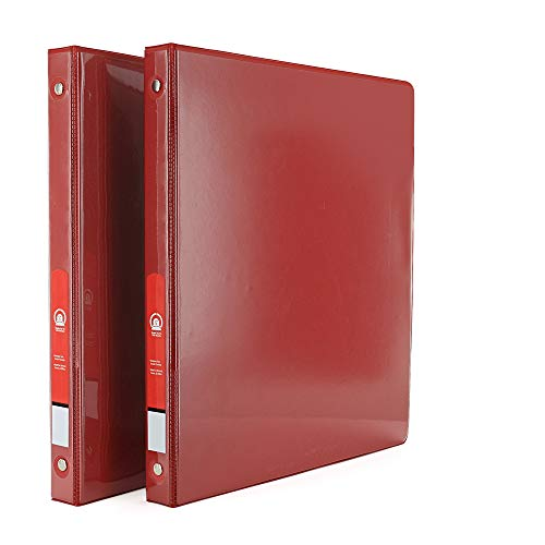 """Emraw Super Great 1/2"""" 3-Ring View Binder with 2-Pockets - Available in Red - Great for School, Home, & Office (2-Pack)"""