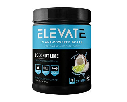 Elevate Nutrition Plant-Based Vegan BCAA Supplement for Muscle Building and Hydration- Energy Booster- All-Natural Food-Sourced BCAA 2:1:1 Ratio- Glutamine, B12, Non-GMO (Coconut Lime)