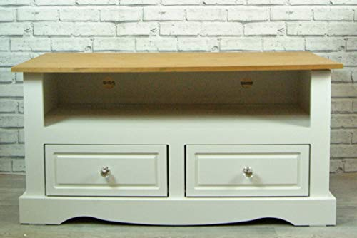Furniture - TV Television Stand Unit Cabinet White with Waxed Wood Top Shelf and 2 Drawers 108cm Wide
