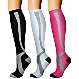 CHARMKING Compression Socks (3 Pairs) 15-20 mmHg is Best Athletic for Women & Men, Running, Flight Travel, Crossfit, Cycling, Pregnant - Boost Performance, Flexibility, Durability (S/M, Multi 11)
