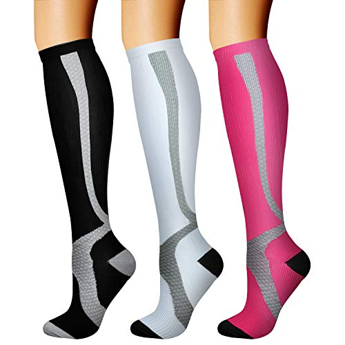 CHARMKING Compression Socks (3 Pairs) 15-20 mmHg is Best Athletic & Medical for Men & Women, Running, Flight, Travel, Nurses, Edema - Boost Performance, Blood Circulation & Recovery (L/XL,Assorted 11)