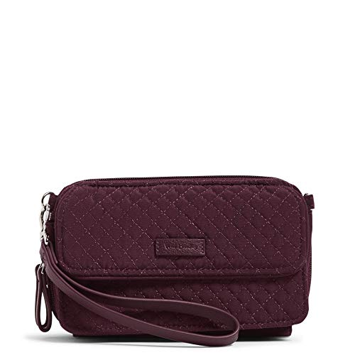 Vera Bradley Microfiber All in One Crossbody Purse with RFID Protection, Mulled Wine