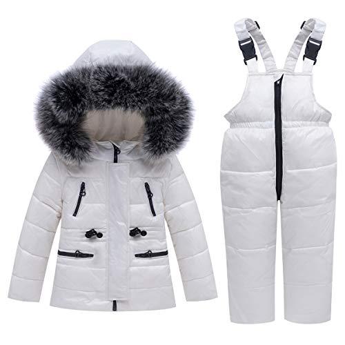 Kids Ski Suits 2-Piece Snowsuit Set Winter Hooded Puffer Jacket + Snow Bib Pants Ultralight Skisuit Set, White 18-24 Months