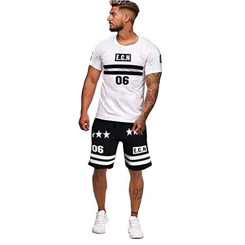 Bascar Men's Jogging Suit Tracksuit Jumpsuit Shirt Trousers Fitness Fashion Big Yards Patchwork Printed Casual Sport Short Sleeve Shorts Suit - - S