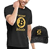 Quitelike I Accept Bitcoins Men's Cotton T-Shirt with Round Neck with Adjustable Baseball Cap Camisetas de Hombre con Gorra