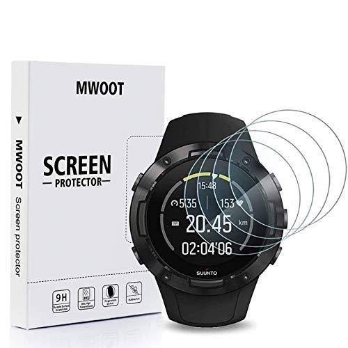 MWOOT 4 Pezzi Pellicole in Vetro Temperato per Suunto 5 GPS Multisport Watch, Anti Graffi Pellicole Protettive per Protezione dello Schermo Suunto 5 GPS Smartwatch