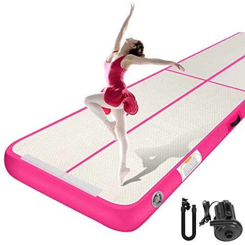 Gymnastics Air Mat, Sailnovo Inflatable Air Tumbling Mat 10ft 13ft 16ft 20ft, 4in 8in Thickness Training Tracks with Electric Pump for Cheerleading Training Yoga Outdoor Home Use
