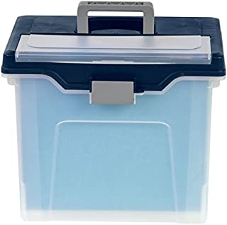 Office Depot Large Mobile File Box, Letter Size, 11 5/8in.H x 13 3/6in.W x 10in.D, Clear/Blue, 110988