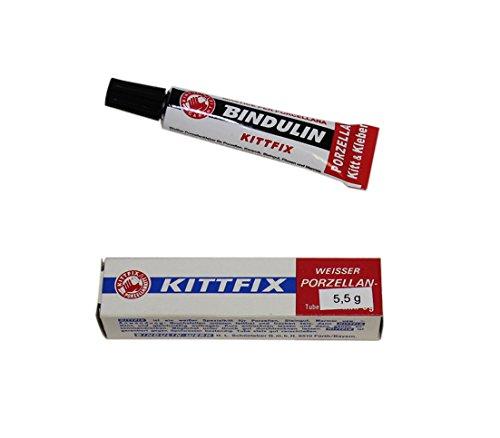 Bindulin Porzellankitt Kittfix 5,5 g - Weißer Porzellankleber Klebstoff auch für Keramik, Steingut, Fliesen und Marmor, wasserfest - Tube in Faltschachtel