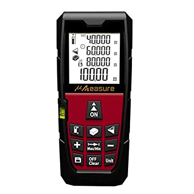 uMeasure Laser Measure 131Ft M/in/Ft Digital Measuring Tape with Bubble Level, Backlit LCD and Pythagorean Mode for Distance Volume Area Measurement ±1/16 Accuracy Red