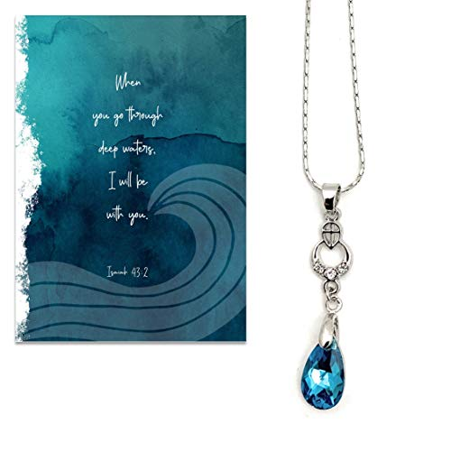 Smiling Wisdom - With God All Things Are Possible Greeting Card Gift Set - Water Drop Necklace with Cross - Supportive Uplifting Consoling Sympathy - For Her, Friend, Woman - Blue Silver