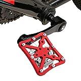 WUDENGM Pedales Antideslizantes Bicicleta alumini Sola Bici del Camino Universal Automáticos al Adaptador de Plataforma Pedales for Bicicletas MTB Shoes, Tamaño: Grande (Color : Red)