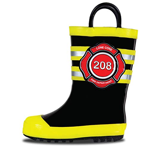 LONECONE Rain Boots with Easy-On Handles in Fun Patterns for Toddlers and Kids, Fire Chief, 8 Toddler