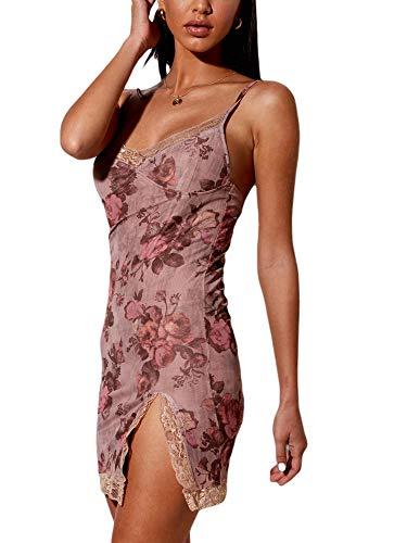 I3CKIZCE Vestido mini mujer sin mangas con encaje vestido Slim Cóctel Discoteca ajustado, vestido de noche sexy vintage elegante Rosa Floral L