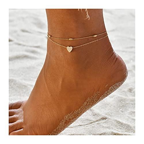 HETHYAN Juego de 3 tobilleras de cadena de color dorado para mujer, para pies de playa, joyería de pie, cadena de pierna, tobilleras, accesorios para mujer (color metálico: estilo G)