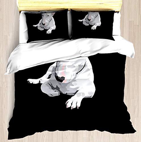 KASABULL Juego de Sábanas Inglés Bull Terrier,Juego de Funda nórdica y Funda de Almohada(220 * 240cm) Cierre de Cremallera con Lazos de Esquina