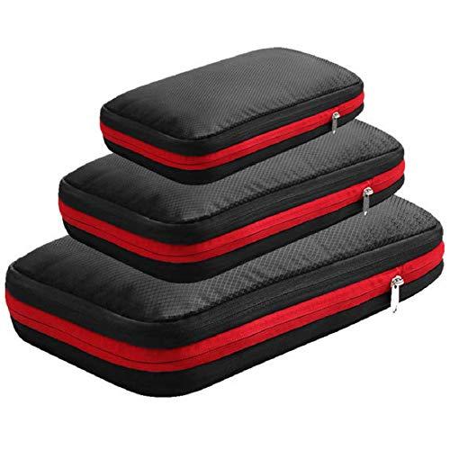 旅行用圧縮バッグ 3点セット ファスナーで圧縮 衣類収納バッグ トラベル 圧縮ポーチ 荷物圧縮