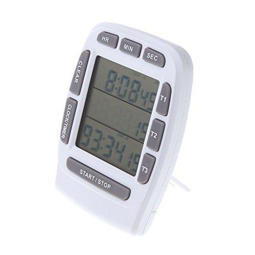 ACAMPTAR LCD Digital larma Temporizador con Triple Pantalla 3 Lineas Temporizador Cuenta Tras Cronometro