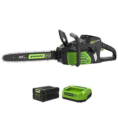 Greenworks Pro 80 V 45 cm Brushless Motosierra Inalámbrica , Velocidad de la Cadena 10,5 m / s, Freno Electrónico, Lubricación Automática (con 2Ah Batería y Cargador)