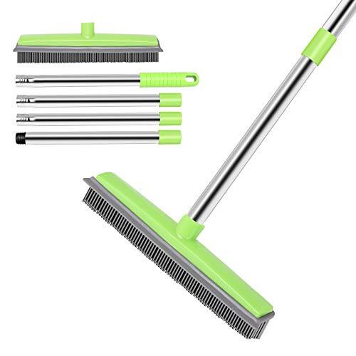 JUOIFIP Pet Hair Rubber Broom| Soft Push Broom| Carpet Rug Rake| Adjustable Stainless Steel Long Handle Indoor Outdoor Broom| Squeegee Edge Bristle Broom for Window Hardwood Floor Carpet(Green)