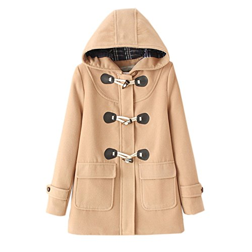 Elonglin Womens Duffle Coat Woolen Fleece Trench Coat Winter Casual Hooded Horn Buttons Peacoat with Pockets Fashion Thick Toggle Coat Snowsuit Outerwear Hoodie Warm Size UK L (Asia XL) Kaki