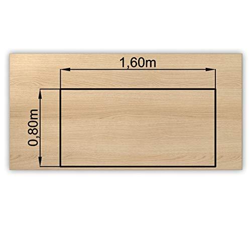 Bümö® stabile Tischplatte 2,5 cm stark - DIY Schreibtischplatte aus Holz | Bürotischplatte belastbar mit 120 kg | Spanholzplatte in vielen Formen & Dekoren| Platte für Büro, Tisch & mehr (Rechteck: 160 x 80 cm, Eiche)