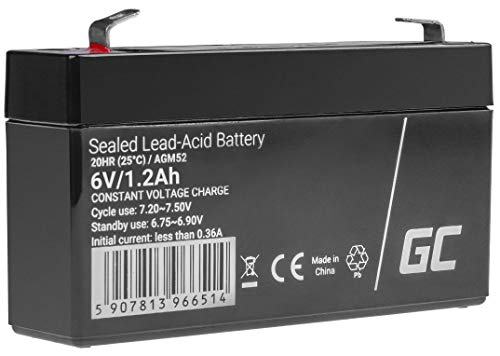 Batería de plomo AGM 6 V 1,2 Ah Green Cell para USV batería de plomo de ácido sellada, batería VRLA ciclos de moto infantil, corriente de emergencia, quad, lámpara de mano
