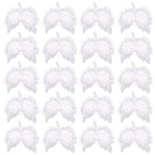 Anladia 20PCS 13cm Vintage Feather Hanging Angel Wings Christmas Tree Wedding Decorations Gift
