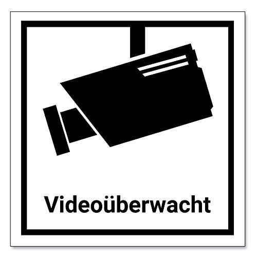 Videoüberwachung Aufkleber/Schild 15x15cm, schwarz/weiß, Achtung Überwachungskamera, Warnaufkleber