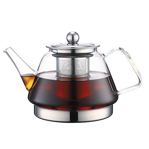 TOYO HOFU Théière en verre transparent avec infuseur Résistant à la chaleur cuisinière à gaz/cuisinière à induction sûr Amovible Infuseur en acier inoxydable 1000ml/39oz