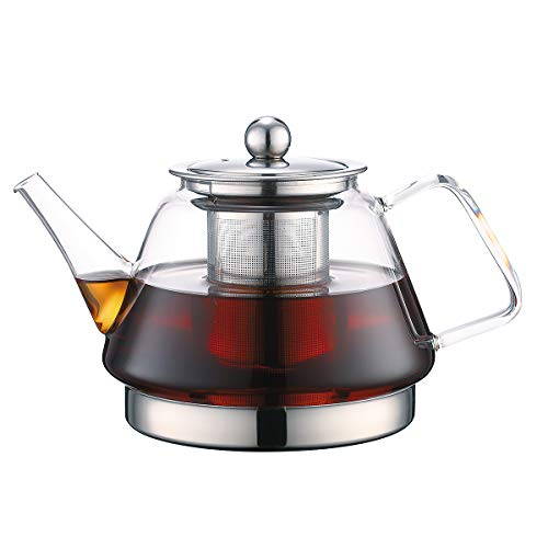 TOYO HOFU Clear High Borosilicate Glass Teapot with Removable Food Grade 304 Stainless Steel...