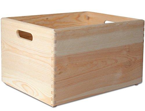Creative Deco XXL Große Holzkiste Obstkiste Korb | 40 x 30 x 24 cm | mit Griffen | ohne Deckel | Hölzernen Kasten Unlackiert Holzbox Kiste | Ideal für Dokumente, Wertsachen, Spielzeuge und Werkzeuge