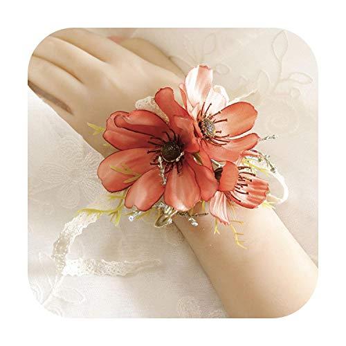 Flor de arte nueva rosa púrpura blanco ramillete muñeca flor moda accesorios de boda boda nupcial dama de honor flor pulsera Boutonniere-e-muñeca flor -