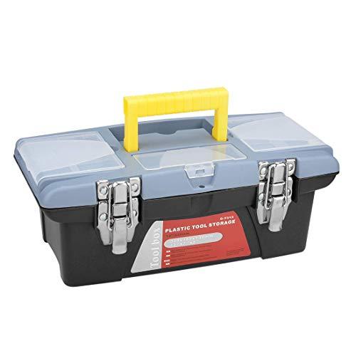 Caja de herramientas de 13 pulgadas, caja de herramientas de plástico con bandeja y organizadores, incluye 3 cajas de piezas pequeñas extraíbles.
