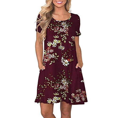 SHJIRsei Vestidos Vestidos Mujer Casual Verano Vestidos Sexys Y Elegantes Moda Mujer 2020 Rebajas Vestidos Vestido de Playa Vestidos De Fiesta para Comuniones Vestidos Vestido de Impreso (XL, Vino)