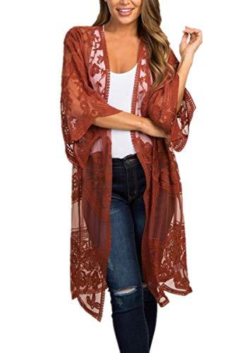 L-Peach Sarong Vestido Largo de Playa Kimono para Mujer, Rojo, Talla única